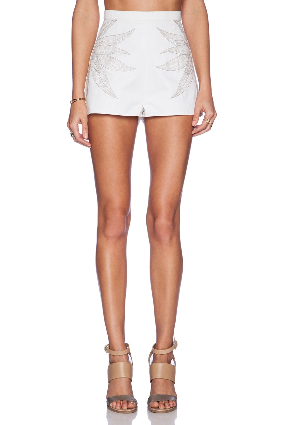 Mara Hoffman Embroidered Denim Short in White