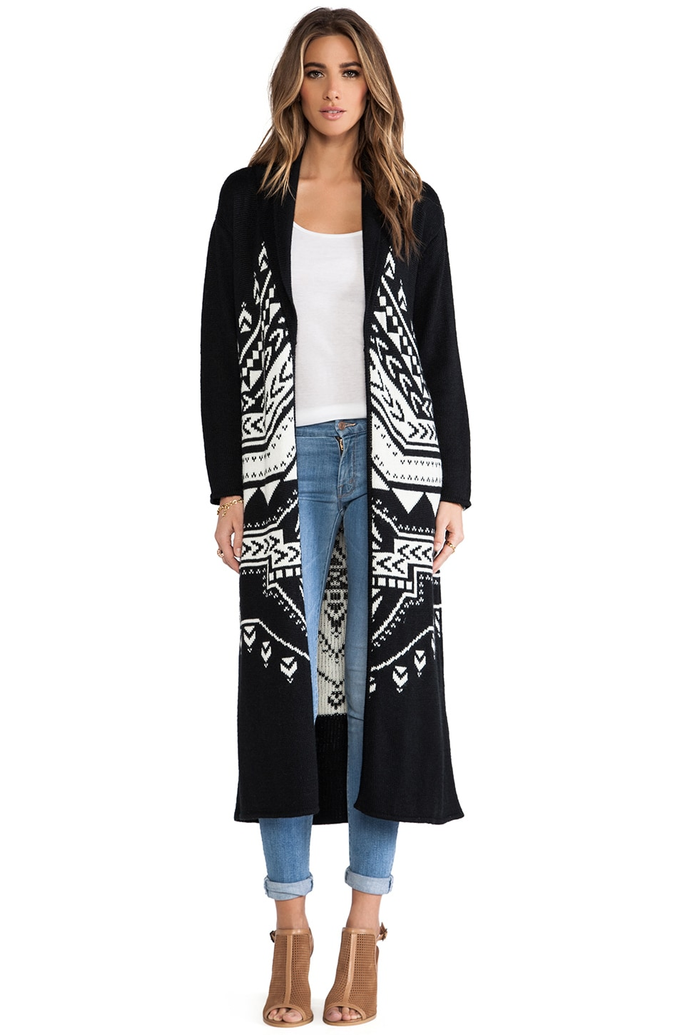 Mara Hoffman Sweater Coat in Black & White