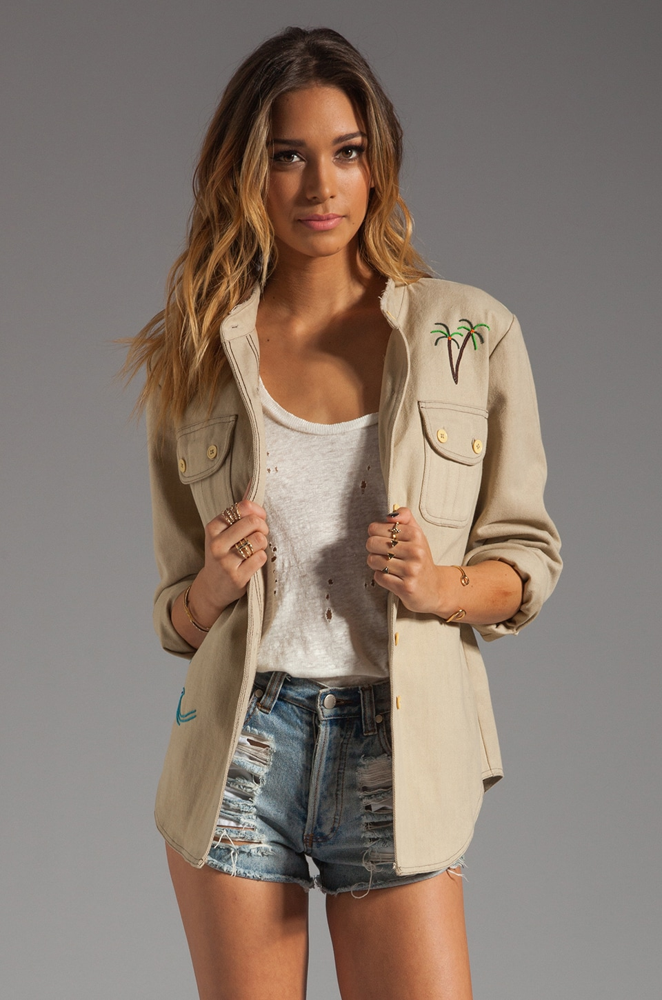 Mara Hoffman Beaded Jacket in Vanilla