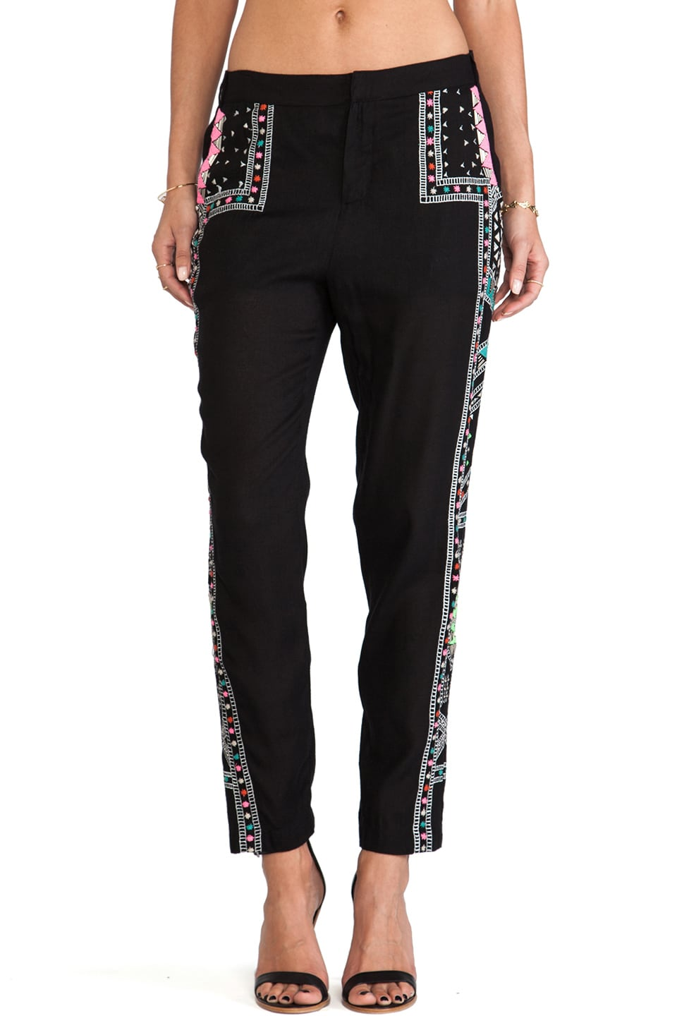 Mara Hoffman Embroidered Pant in Caravan Black
