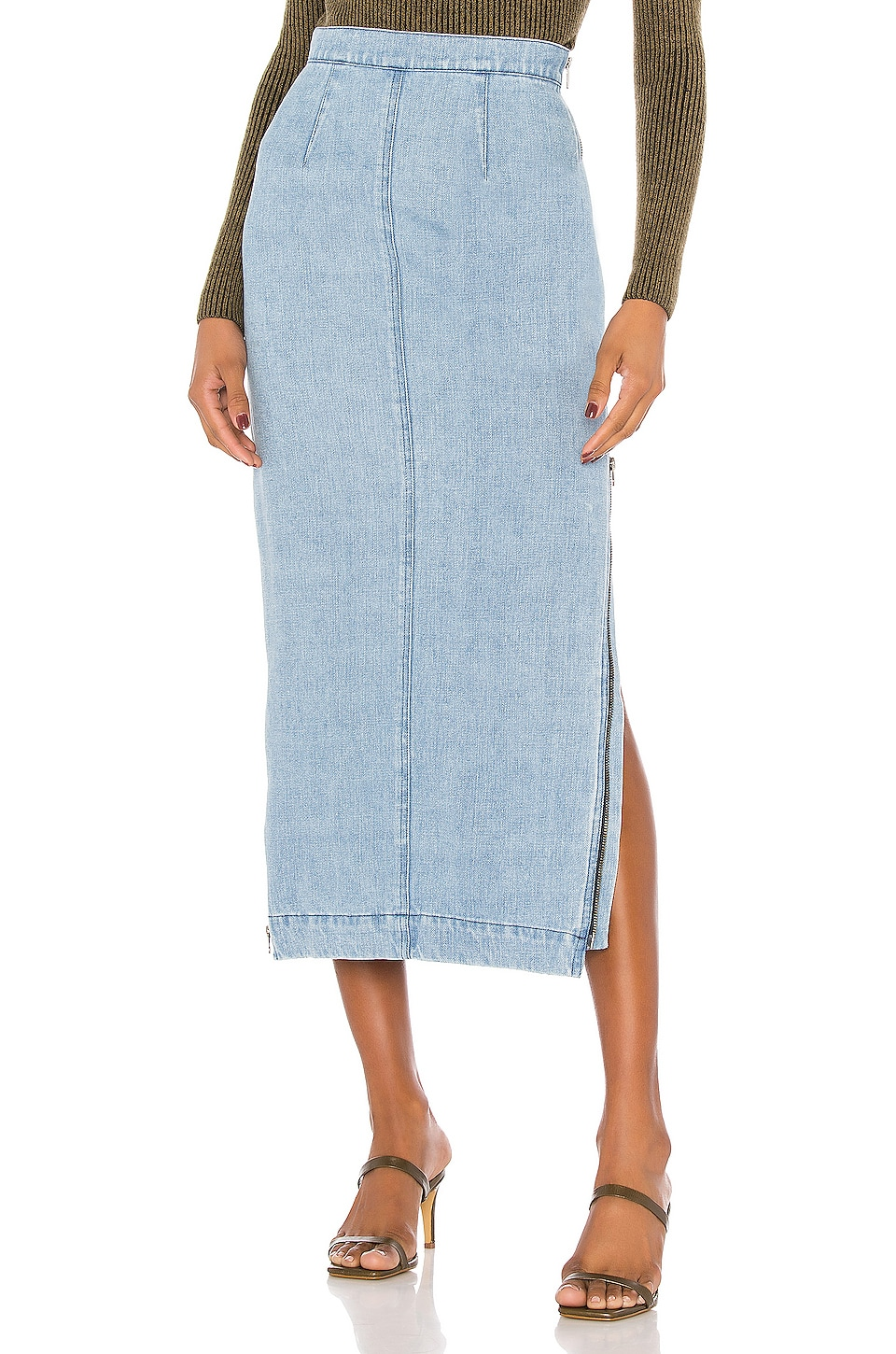 Mara Hoffman Uma Skirt in Split Denim