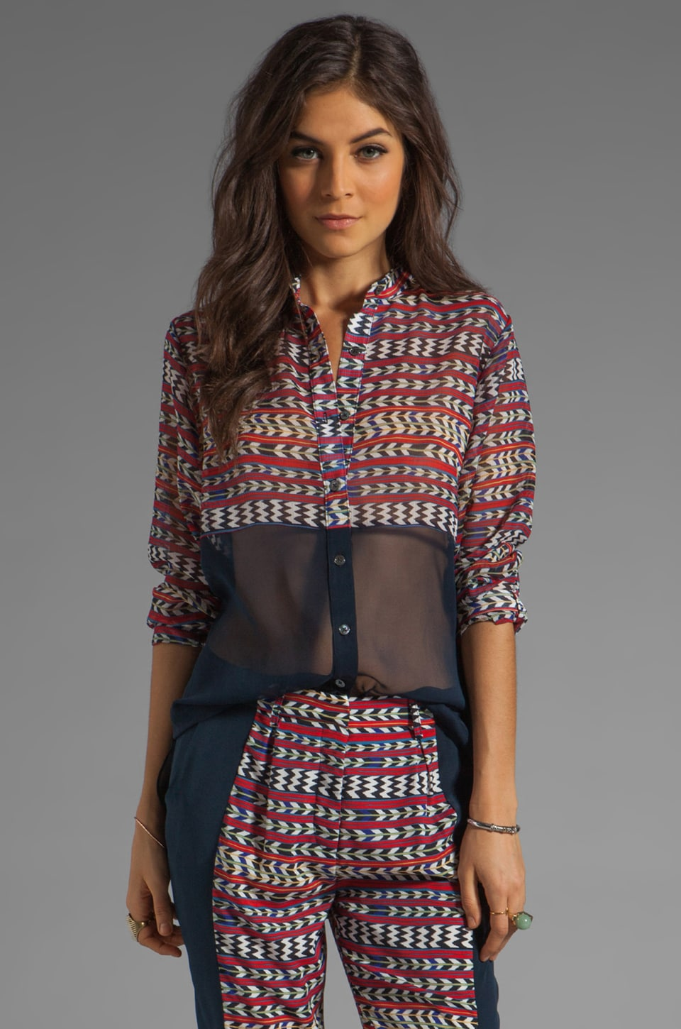 Mara Hoffman Printed Combo Button Down Blouse in Stripe