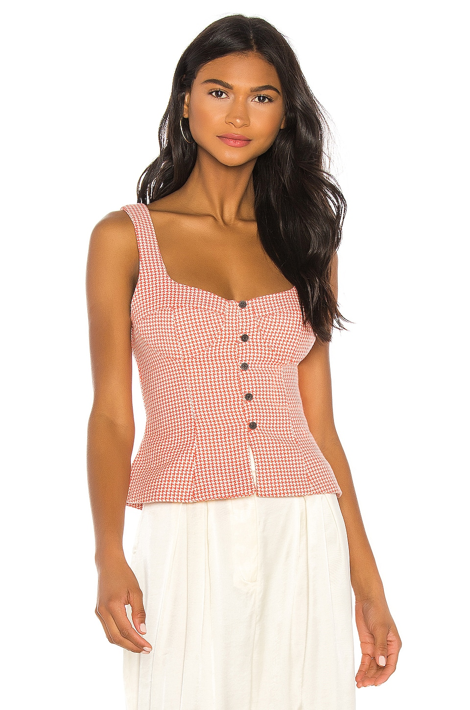 Mara Hoffman Lola Top in Coral White