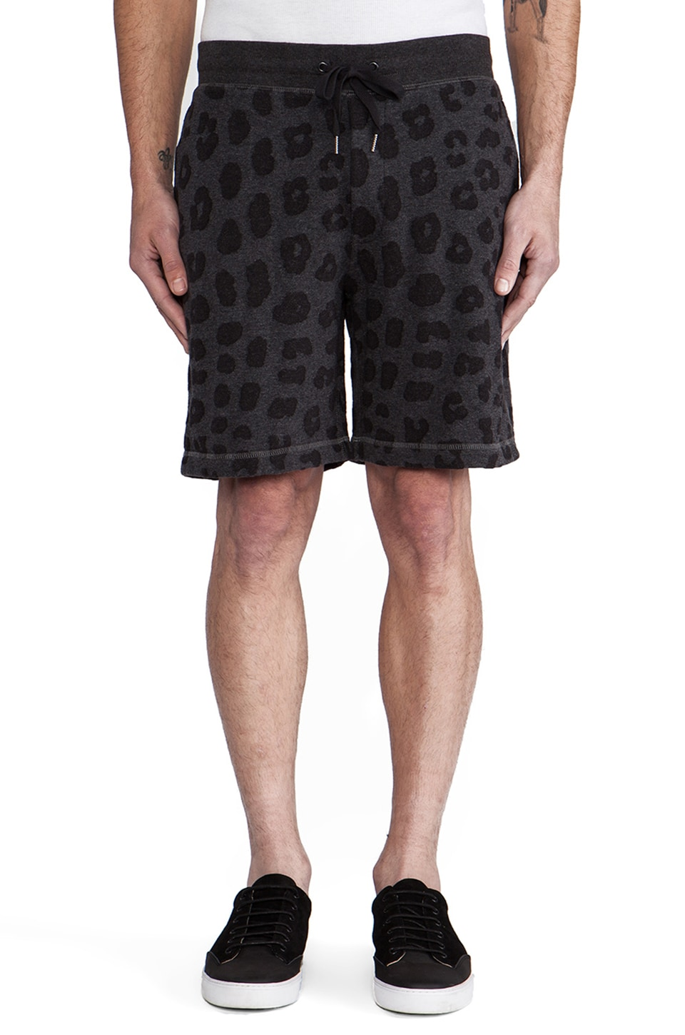 Marc by Marc Jacobs London Leopard Sweatshort in Black Melange
