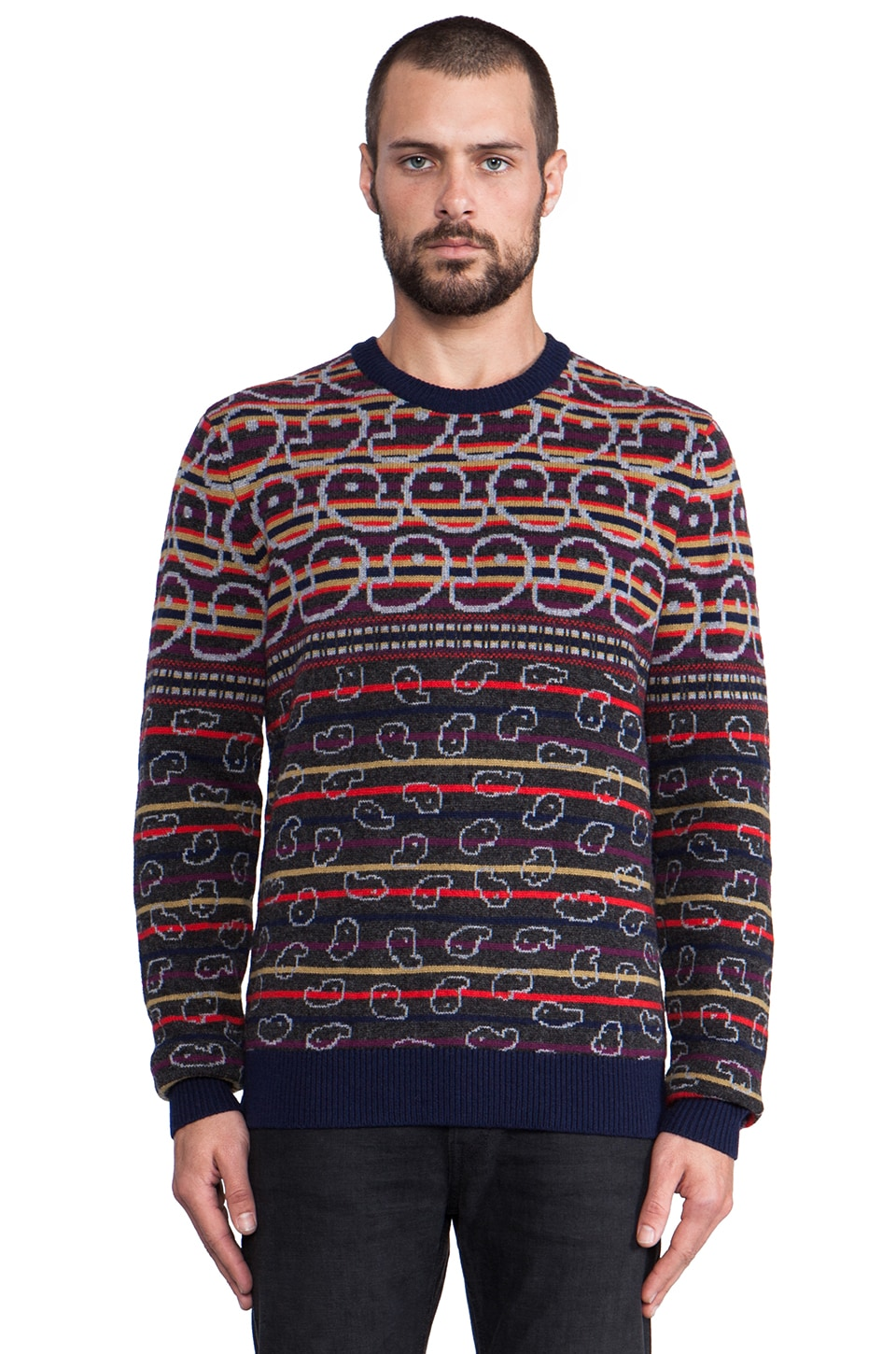 Marc by Marc Jacobs Finsbury Fairisle Sweater in Charcoal Multi