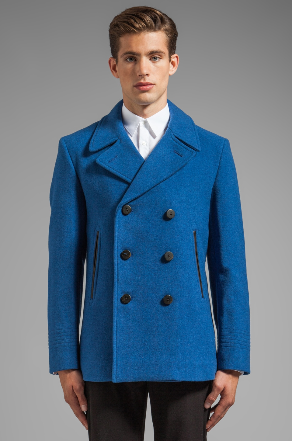 Marc by Marc Jacobs Rushmore Wool Coating in Bright Indigo
