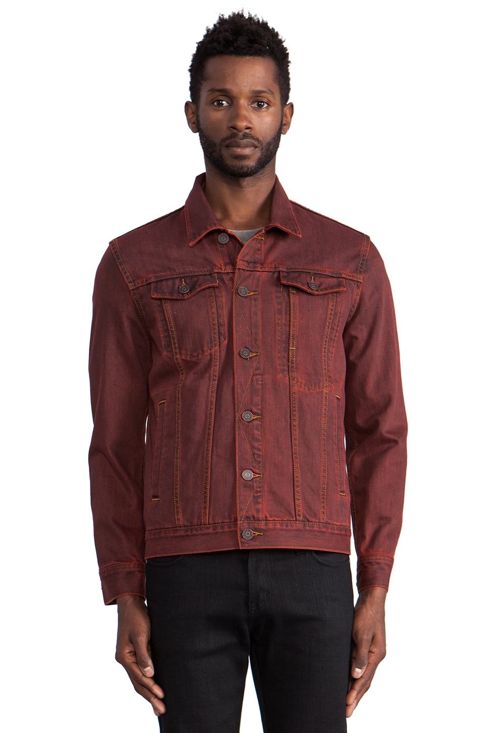 Marc by Marc Jacobs Overdyed Denim Jacket in Electric Red Multi