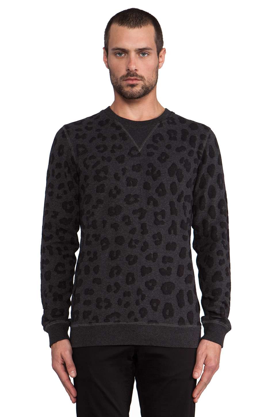 Marc by Marc Jacobs London Leopard Sweatshirt in Black Melange