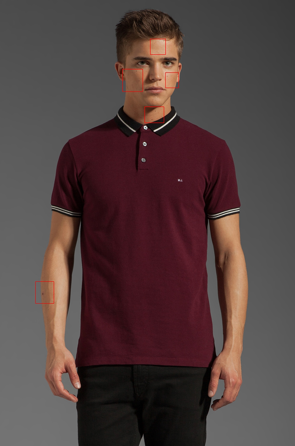 Marc by Marc Jacobs Striped Collar Polo in Madder Carmine