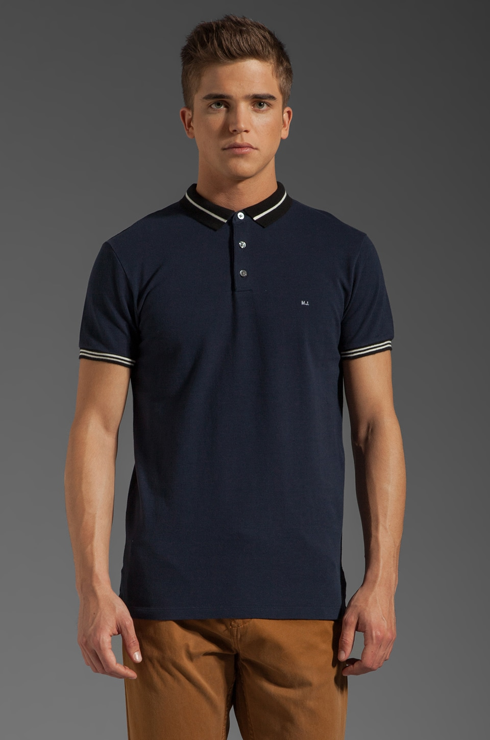 Marc by Marc Jacobs Striped Collar Polo in Twilight Navy