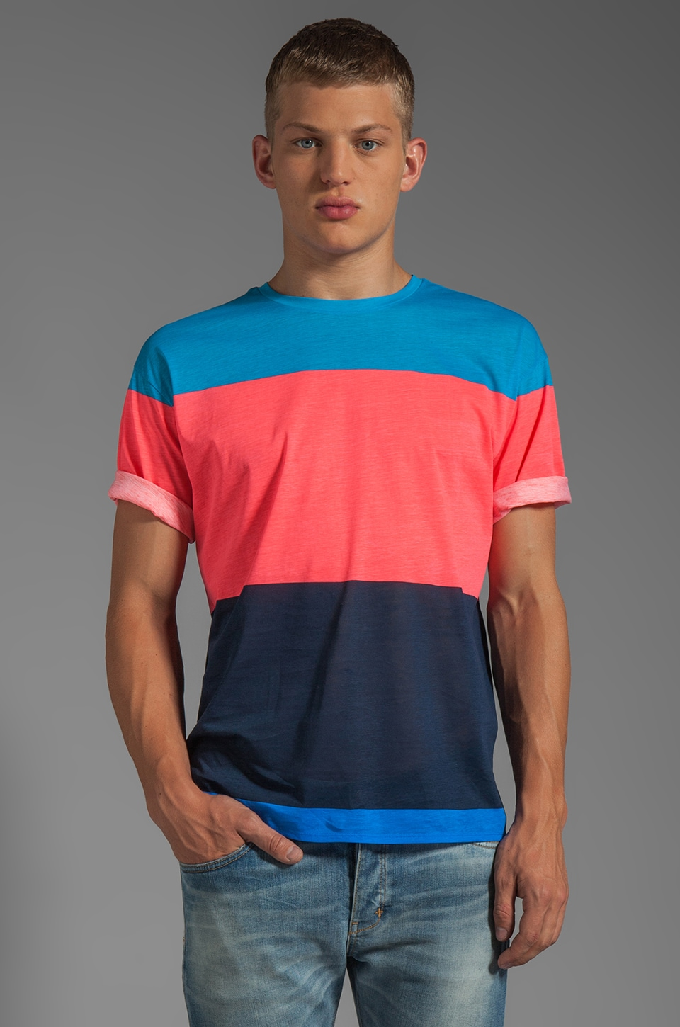 Marc by Marc Jacobs Patrick Stripe Tee in Atomic Blue Multi