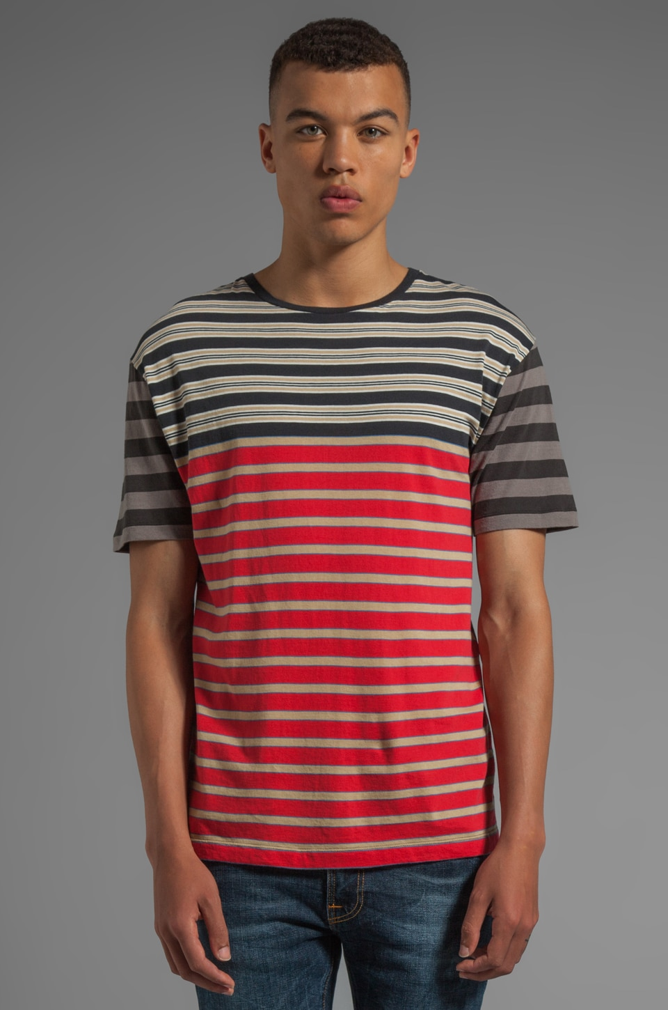 Marc by Marc Jacobs Bailey Stripe Tee in Scarlet Multi