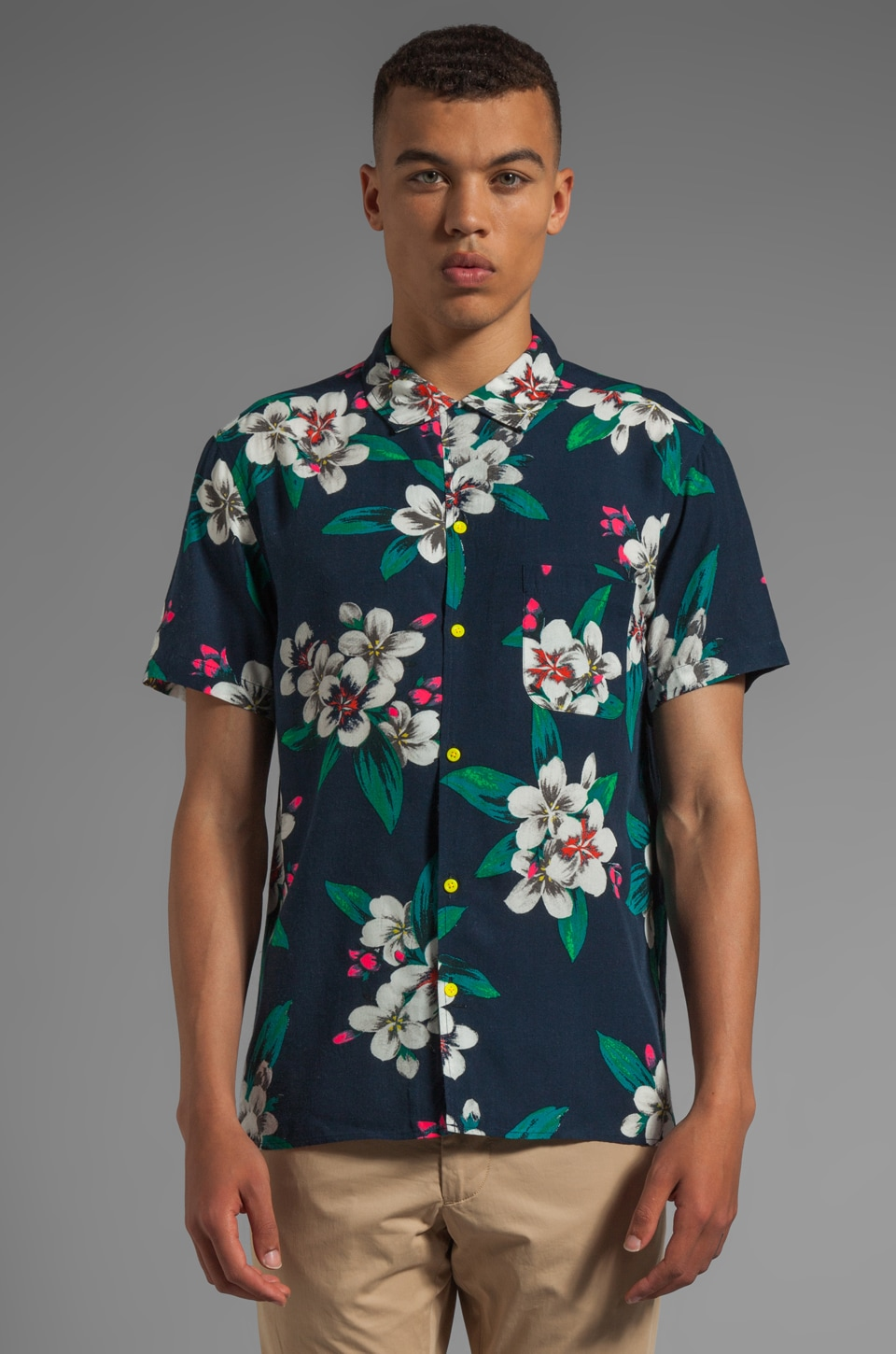 Marc by Marc Jacobs Dempsey Floral Shirt in Total Eclipse