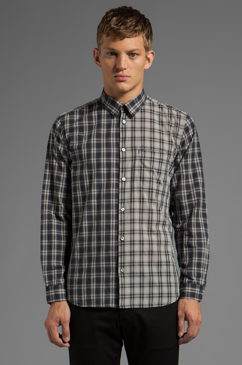 Marc by Marc Jacobs Harmony Plaid Button Down in Blue Graphite Multi