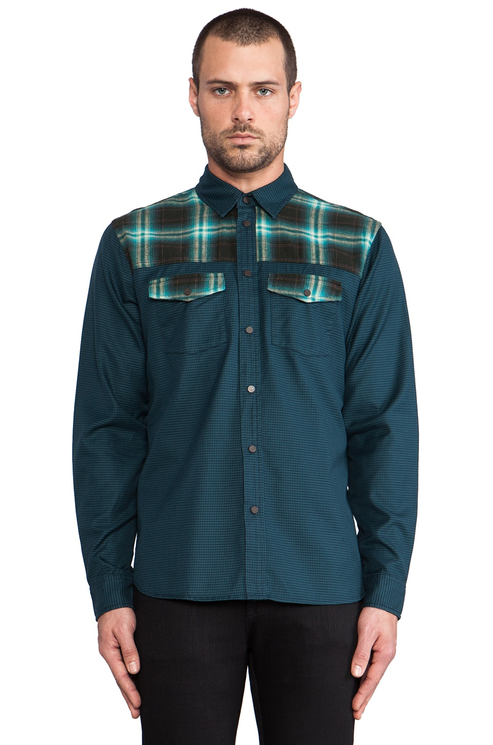 Marc by Marc Jacobs Yosemite Houndstooth Button Down in Teal Multi