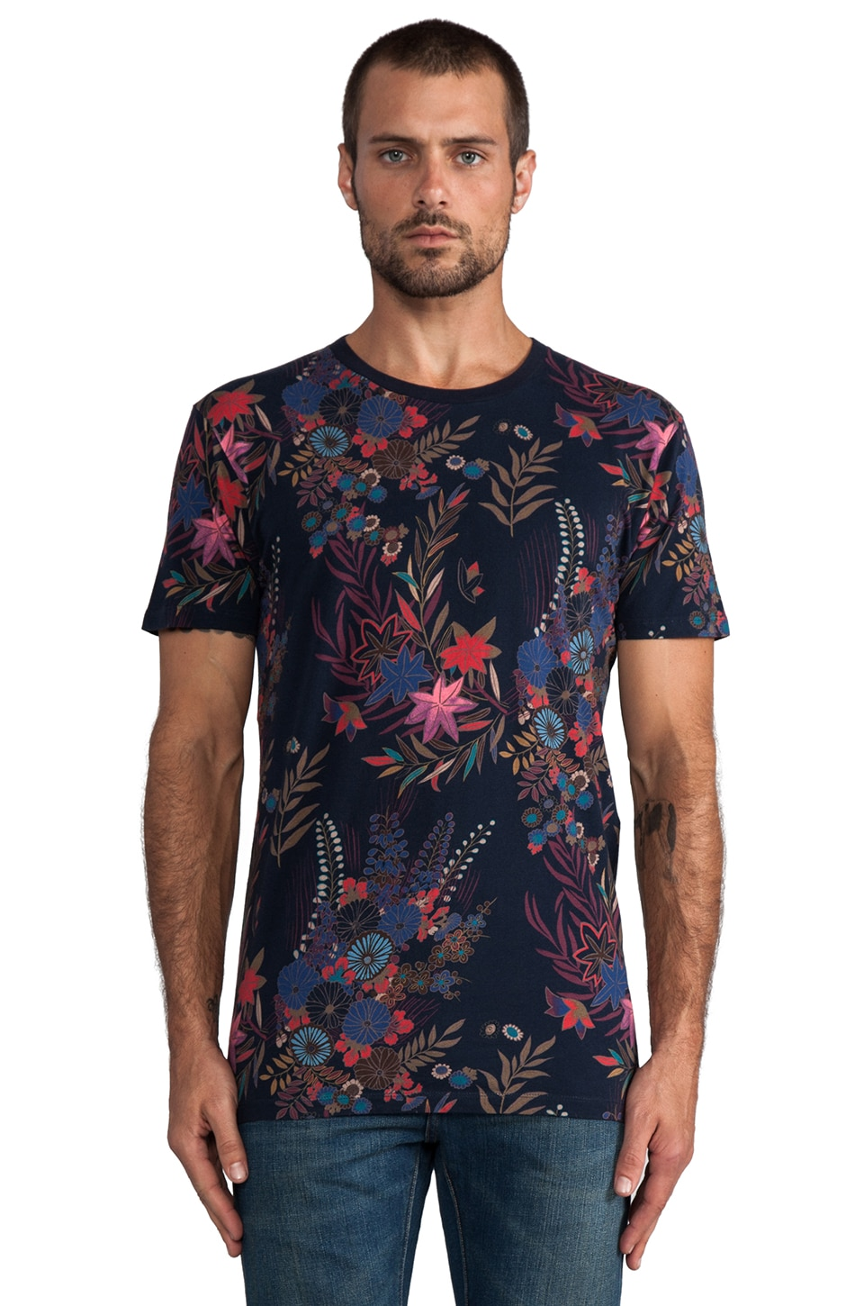 Marc by Marc Jacobs Wichita Floral Jersey Tee in Total Eclipse Multi
