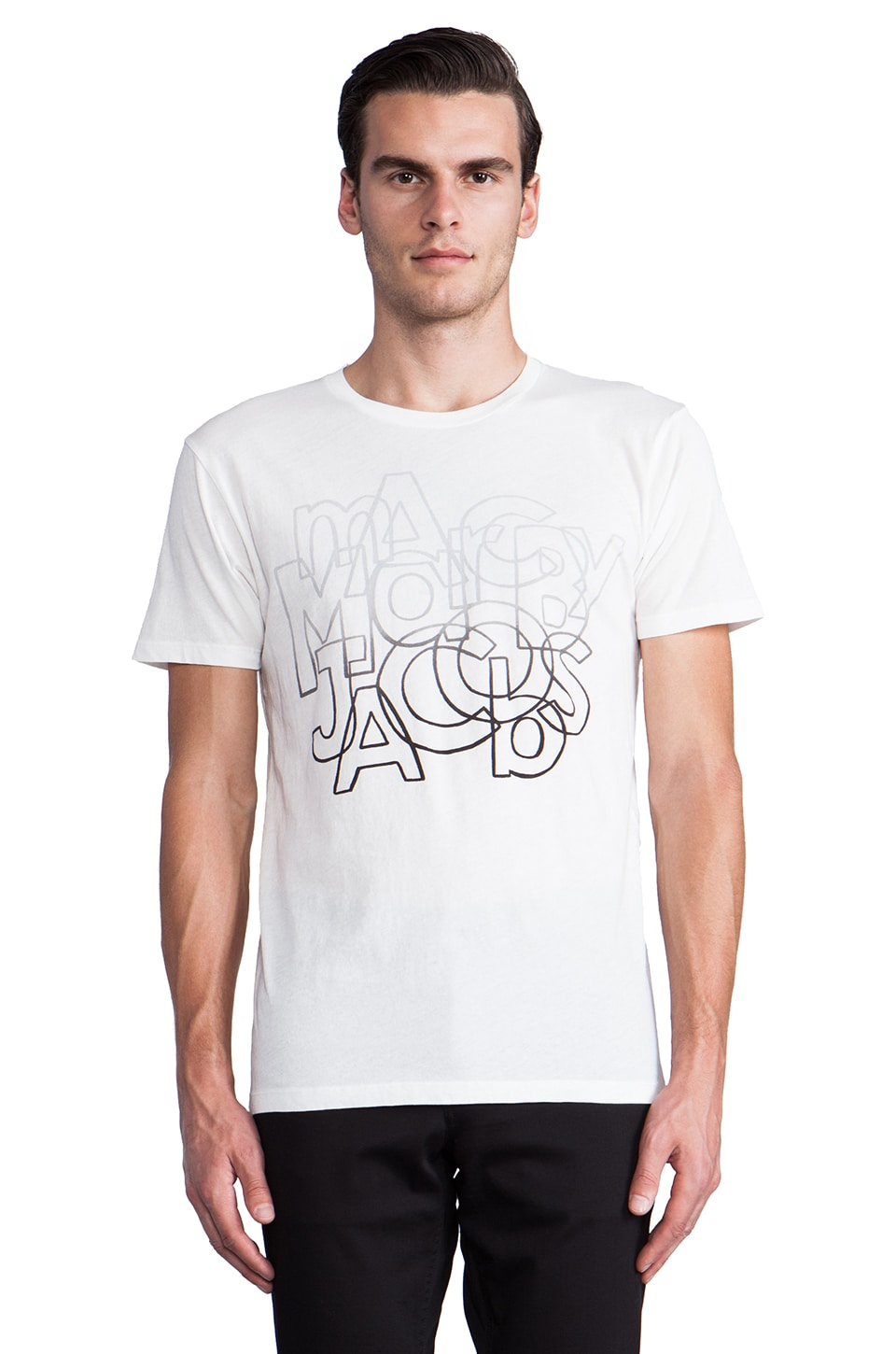 Marc by Marc Jacobs Faded Font Tee in White Multi