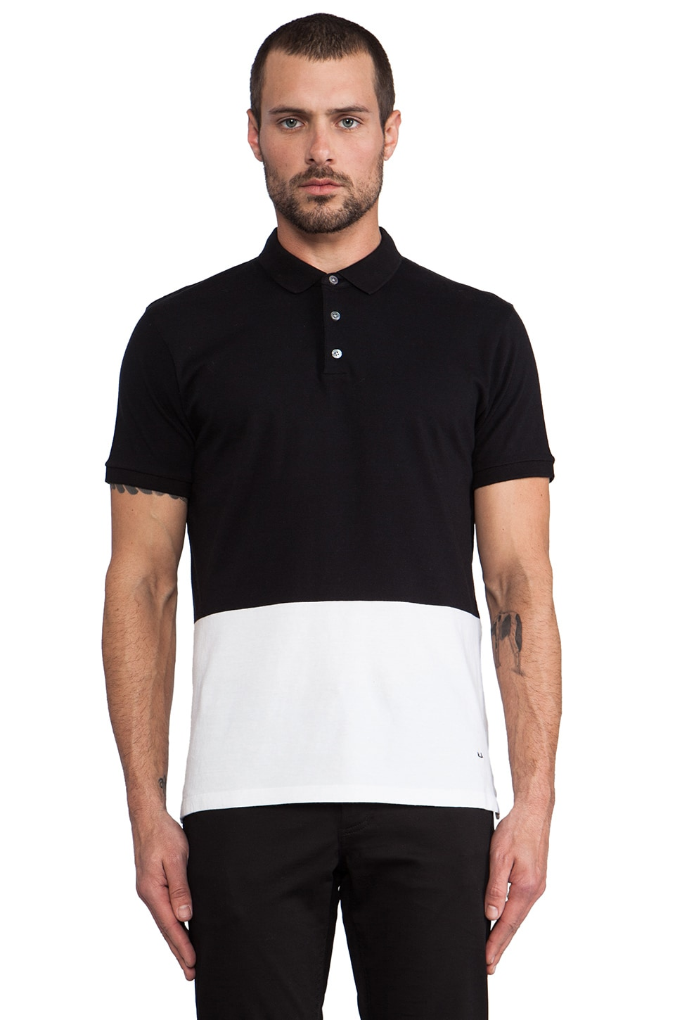 Marc by Marc Jacobs 2 Tone Polo in Black Multi