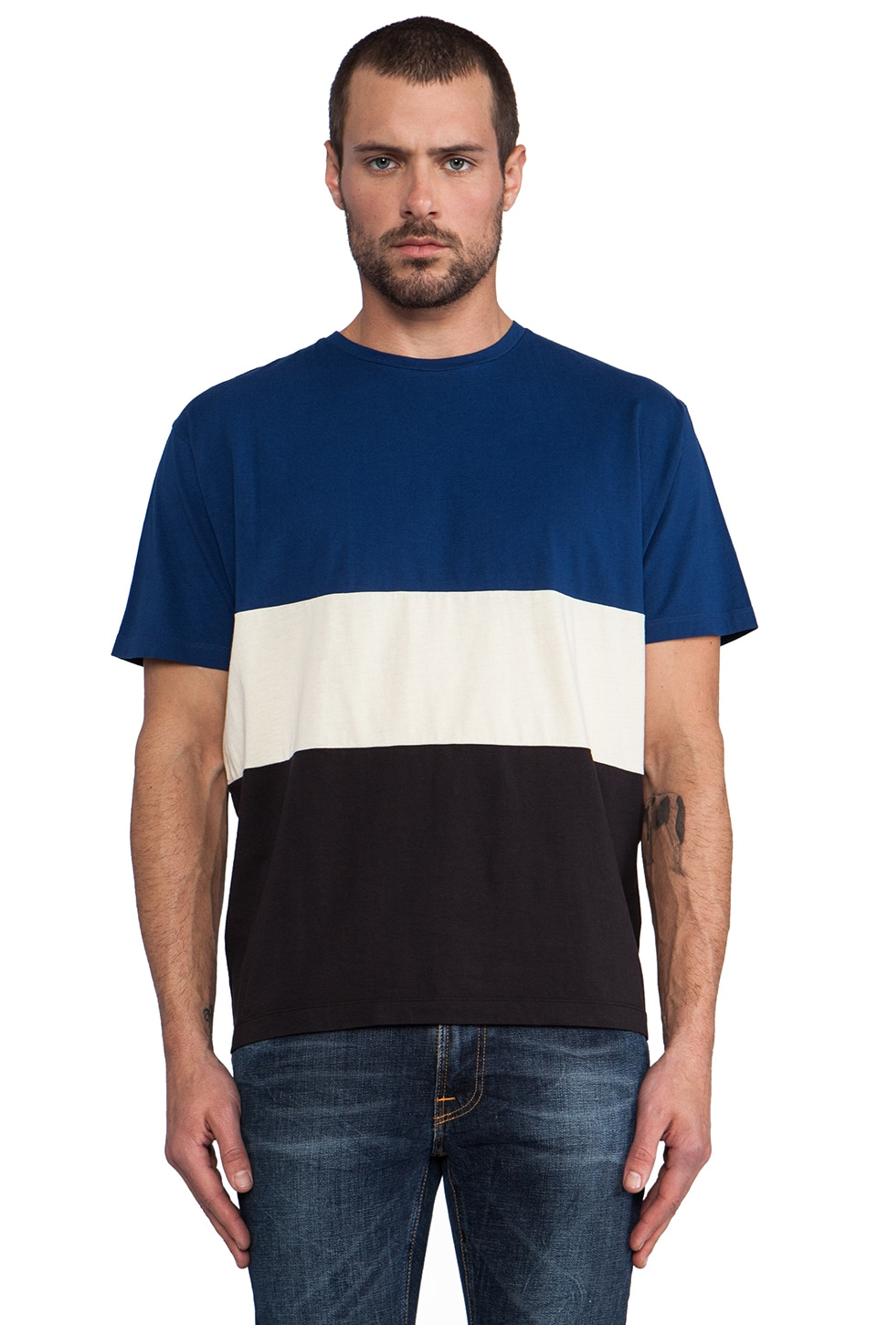 Marc by Marc Jacobs Hounslow Jersey Stripe Tee in Icelandic Blue Multi