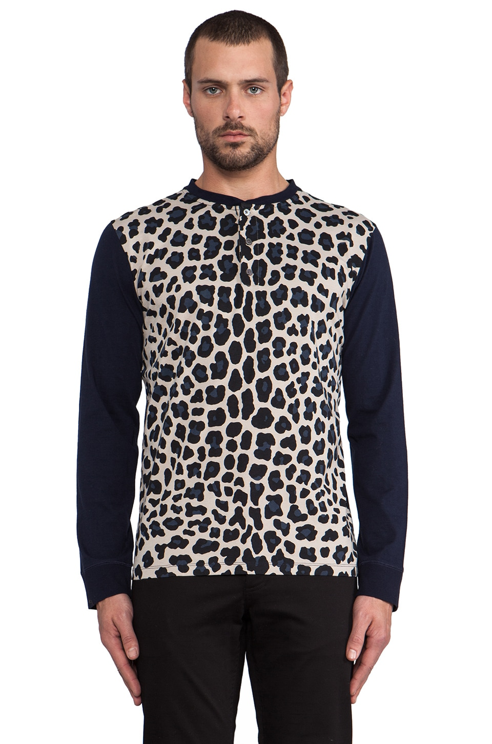 Marc by Marc Jacobs London Leopard Jersey Henley in Ink Blue
