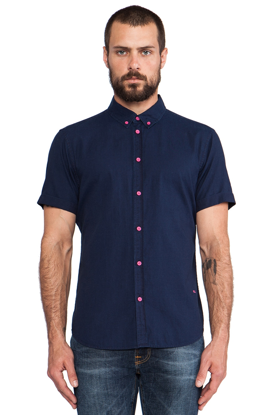 Marc by Marc Jacobs Indigo Oxford Short Sleeve Buttondown in Indigo