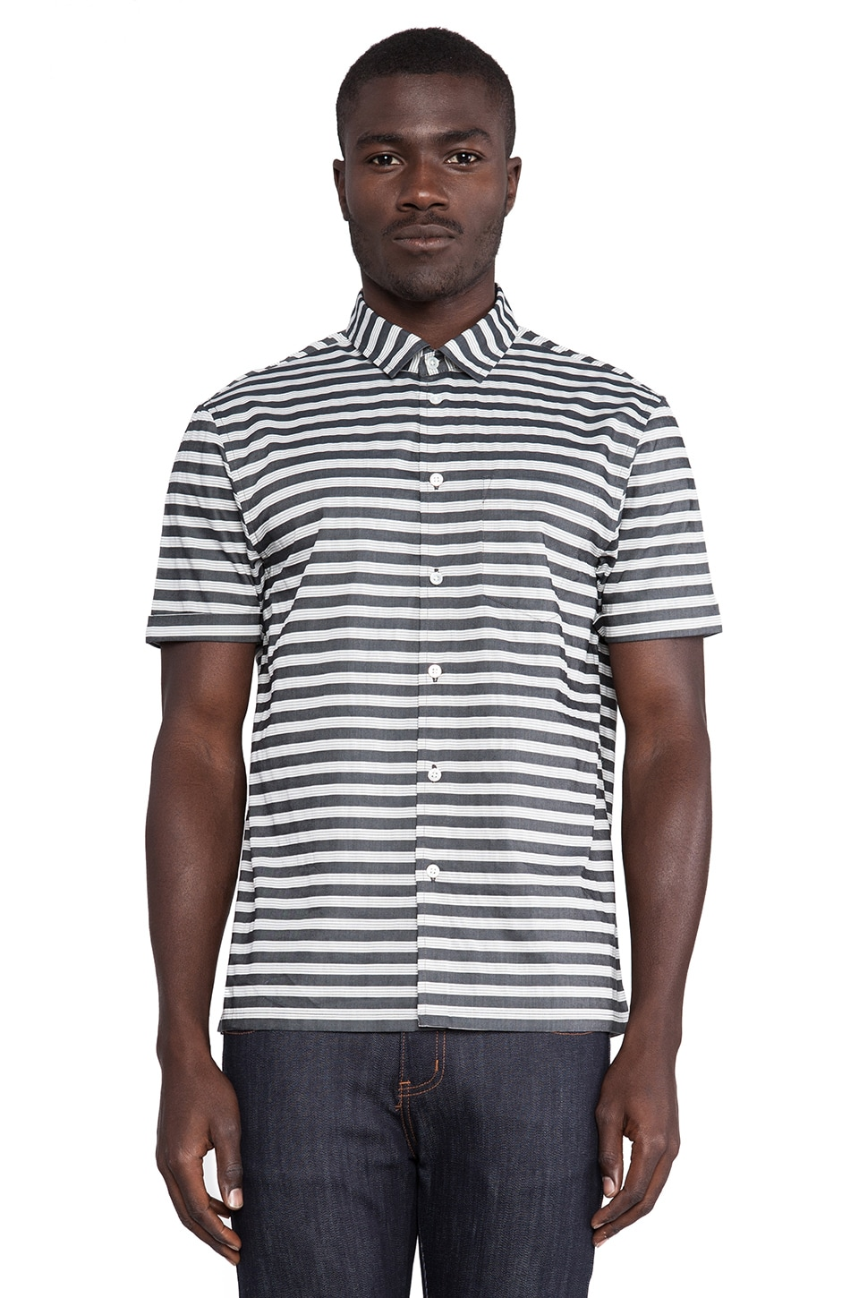 Marc by Marc Jacobs Brentwood Stripe Buttondown in Washed Ink Multi