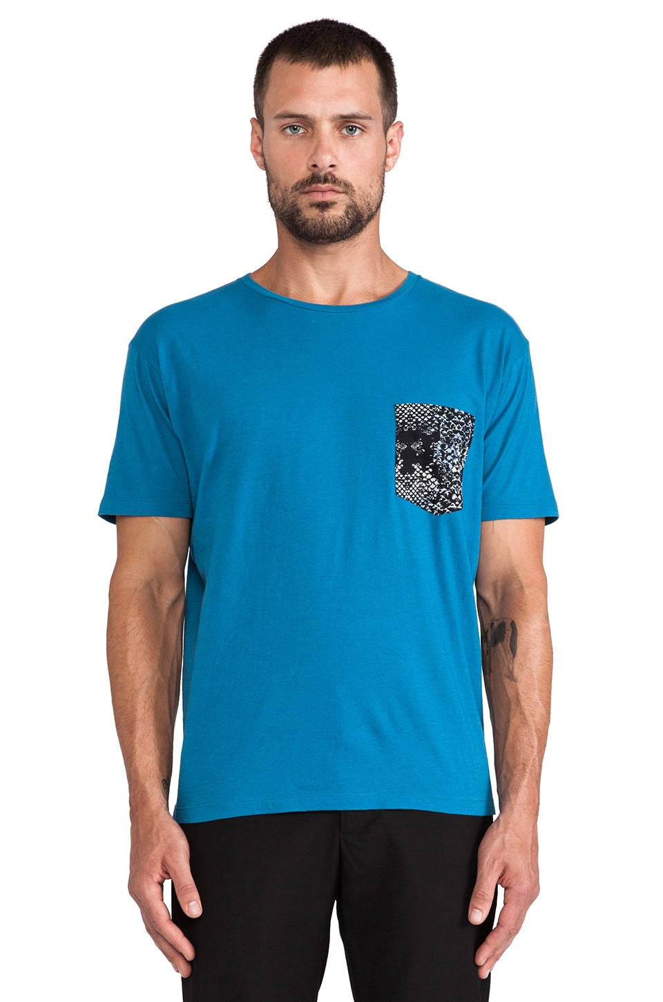 Marc by Marc Jacobs Rex Snake Patch Pocket Tee in Dark Aqua Multi