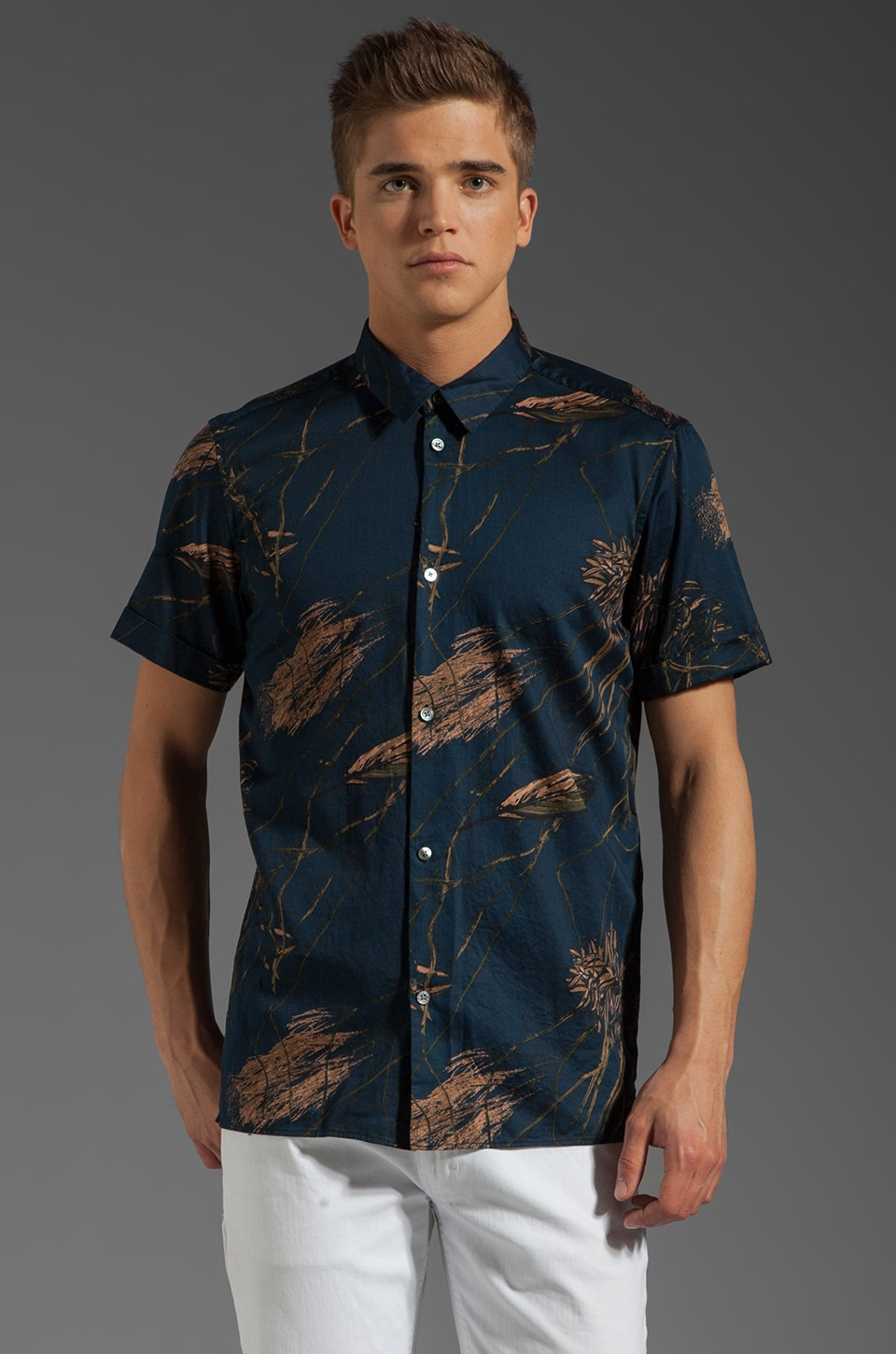 Marc by Marc Jacobs Planted Print S/S Button Up in Normandy Blue
