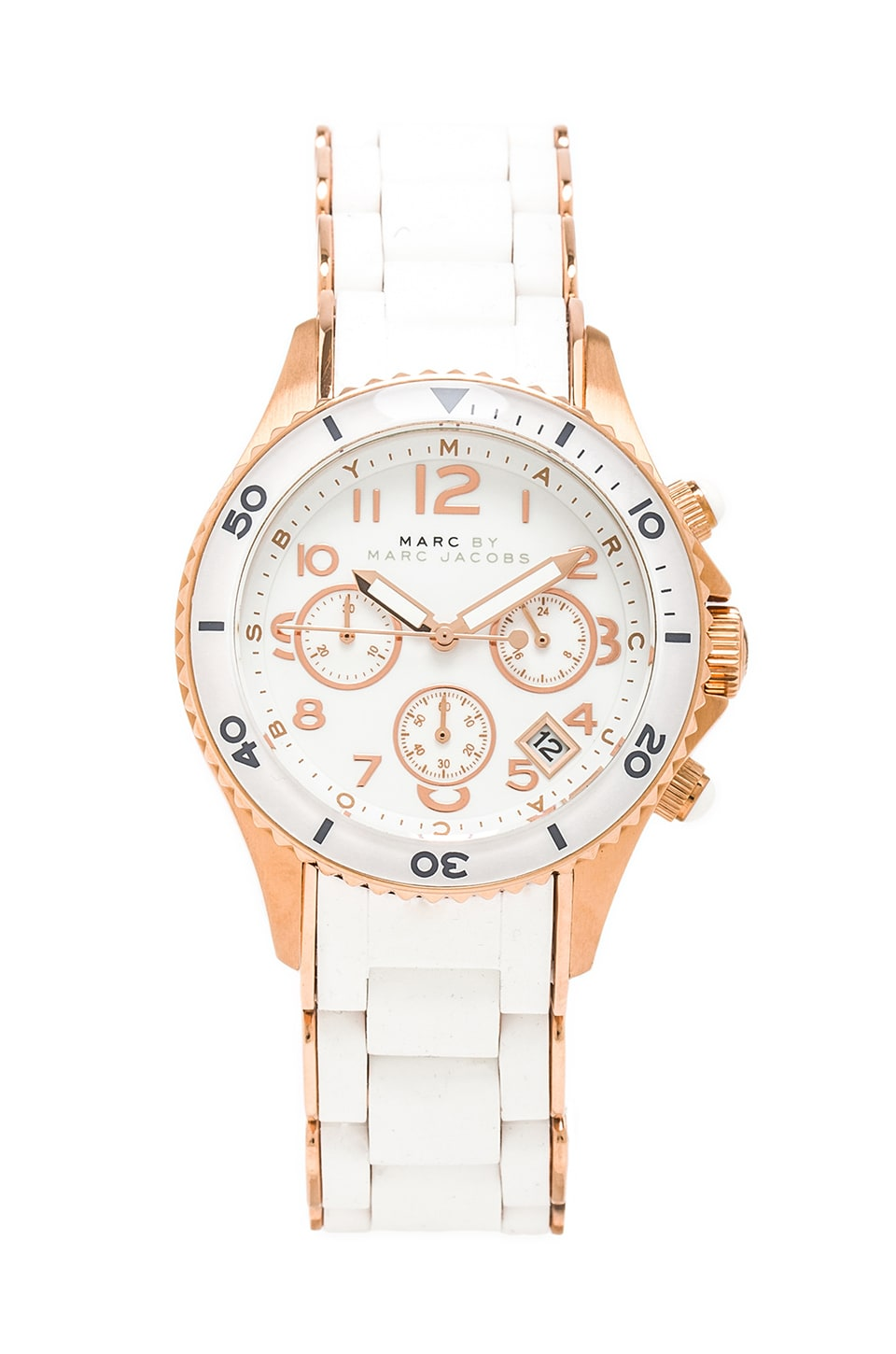 Marc by Marc Jacobs Rock Watch in White/Rosegold