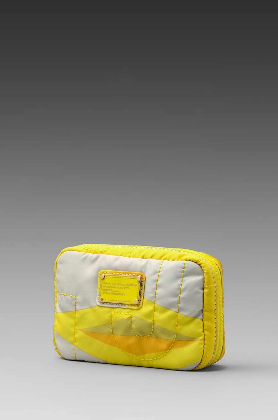 Marc by Marc Jacobs Pretty Nylon Haley Diamond Compact Travel Cosmetic Bag in Lemon Custard Multi