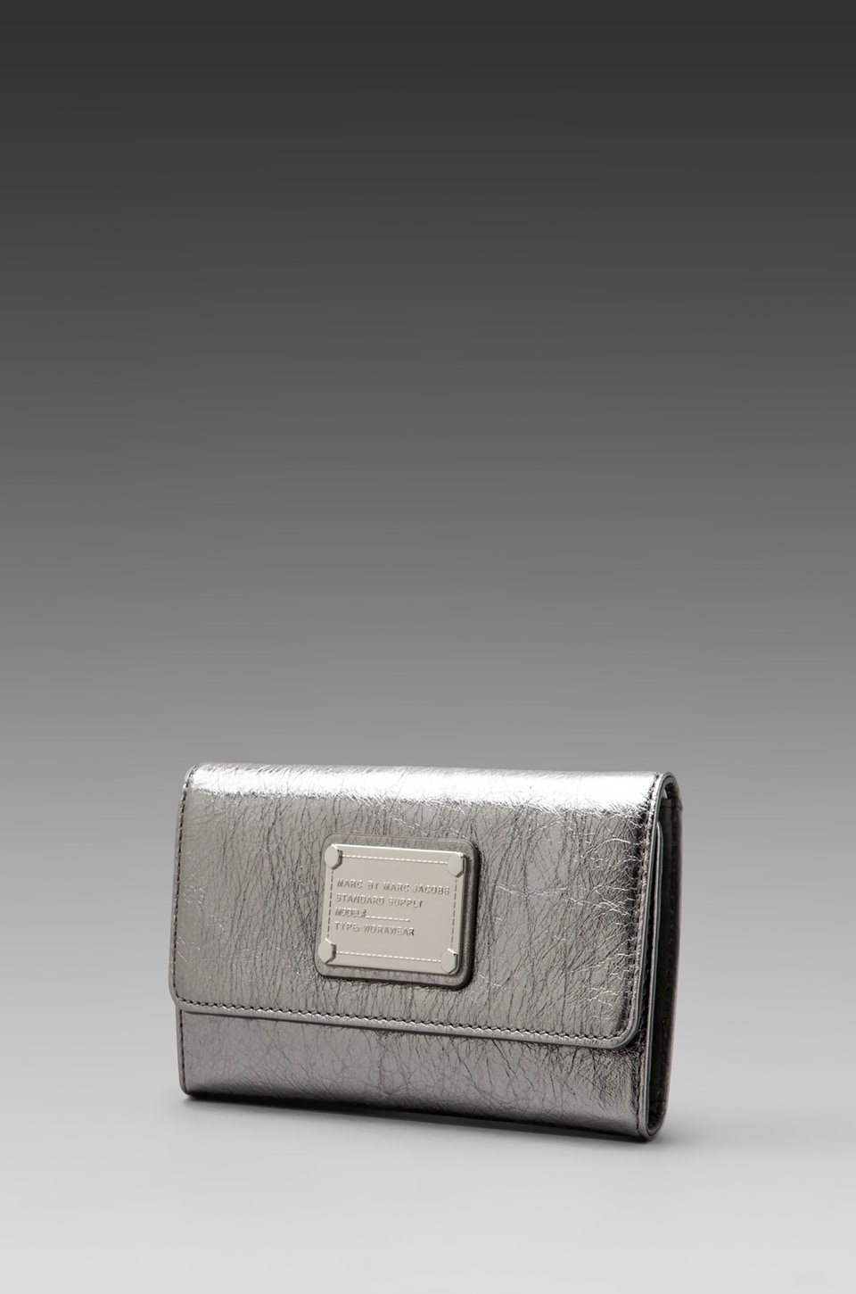 Marc by Marc Jacobs Classic Q Long Trifold in Shiny Gunmetal