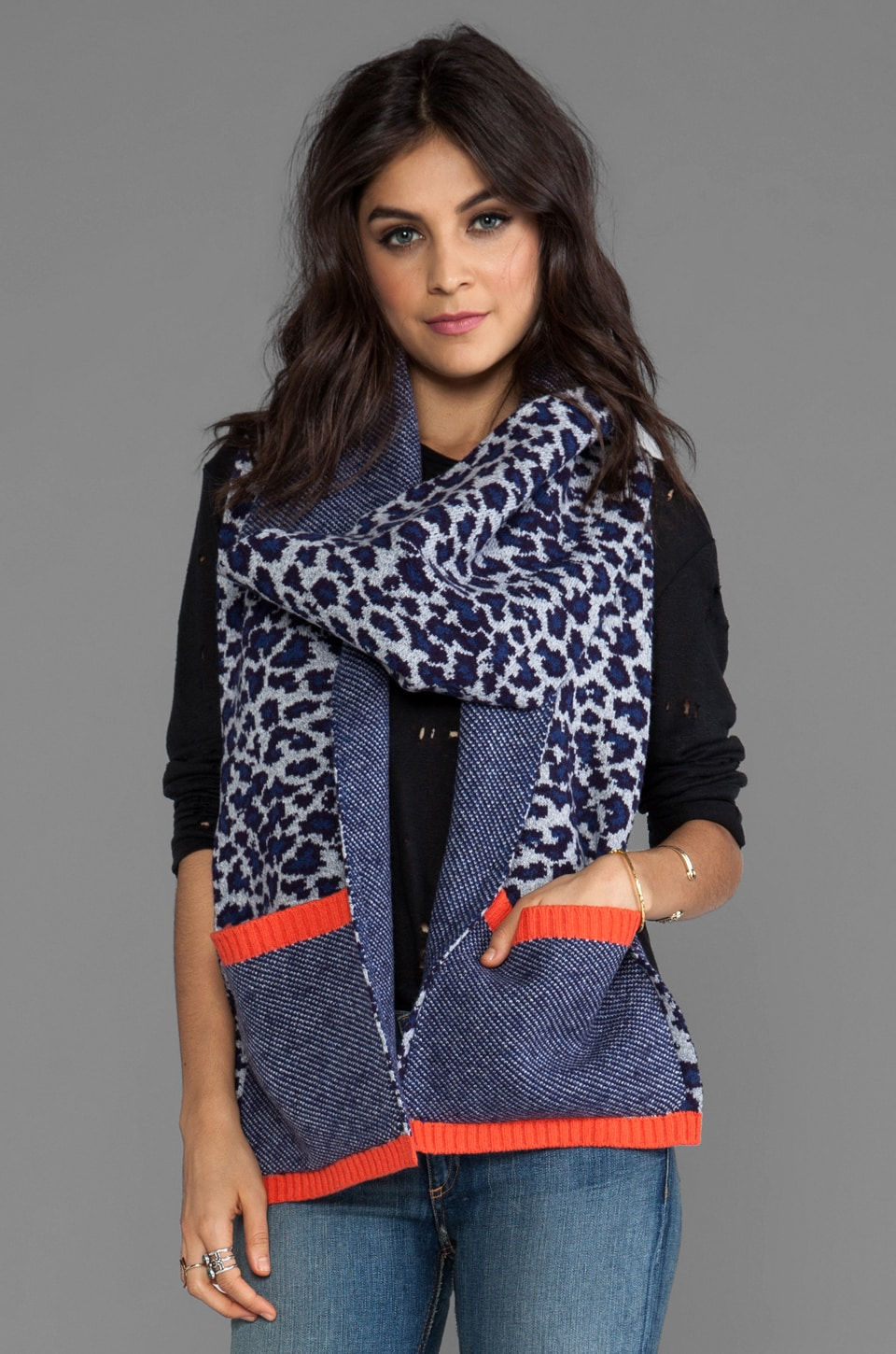 Marc by Marc Jacobs Lenora Leopard Scarf in Royal Purple Multi
