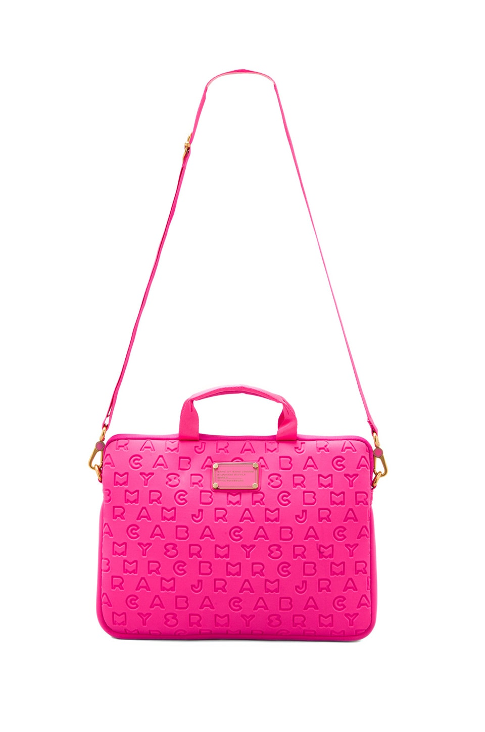 "Marc by Marc Jacobs Dreamy Logo Neoprene 13"" Commuter in Fluoro Fuchsia"
