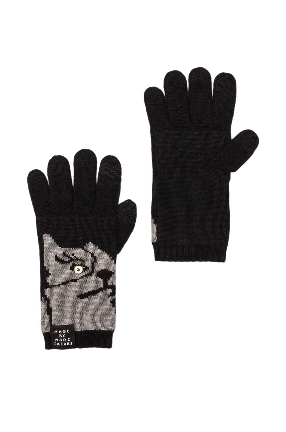 Marc by Marc Jacobs Olive Gloves in Black Multi