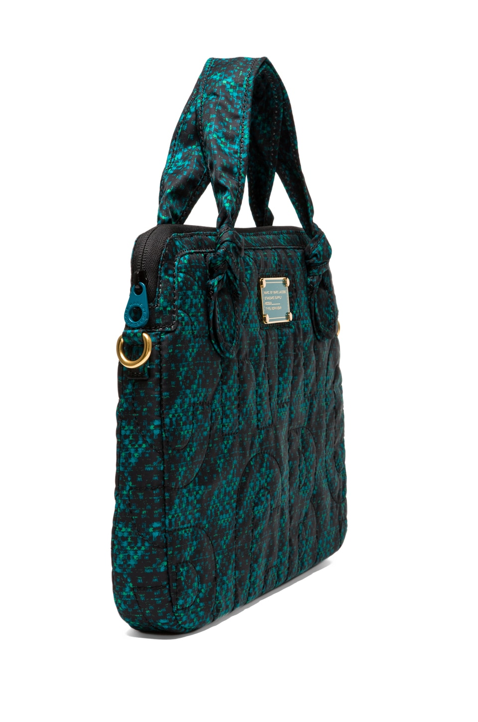 """Marc by Marc Jacobs Pretty Nylon Terrance Jacquard 13"""" Computer Commuter in Parakeet Green Multi"""