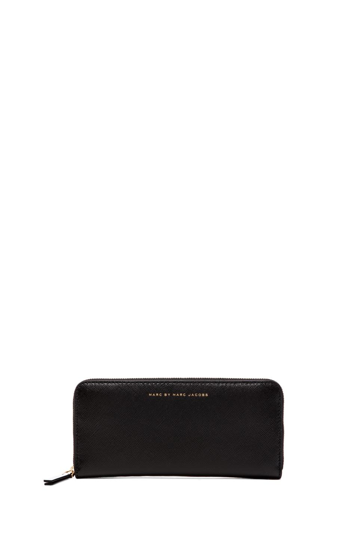 Marc by Marc Jacobs Sophisticato Colorblocked Slim Zip Around Wallet in Black