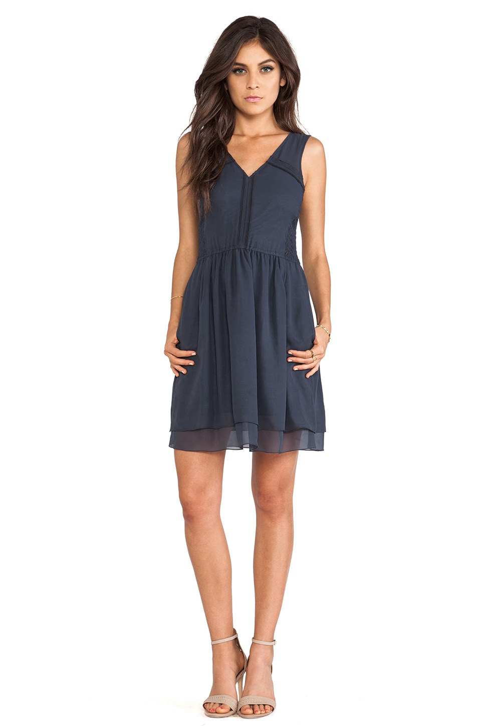 Marc by Marc Jacobs Crystal Textured Silk Dress in India Blue
