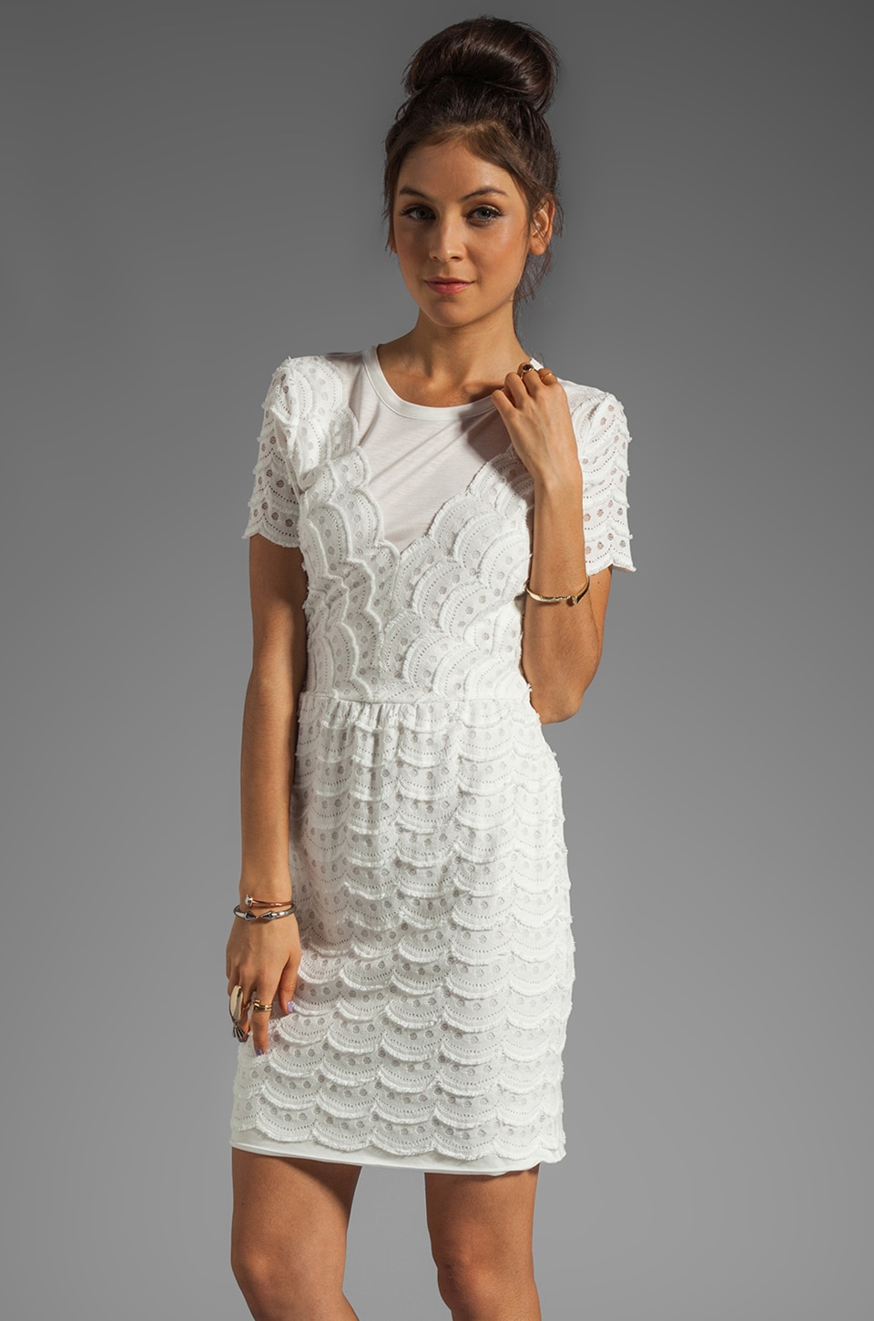 Marc by Marc Jacobs Scallop Tier Lace Dress in Marshmallow