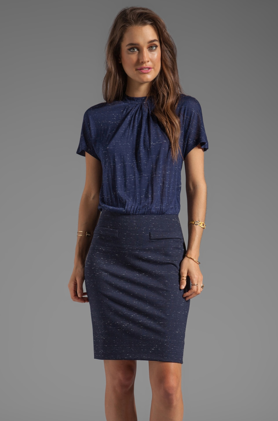 Marc by Marc Jacobs Alicia Ponte Dress in Ink Blue Melange