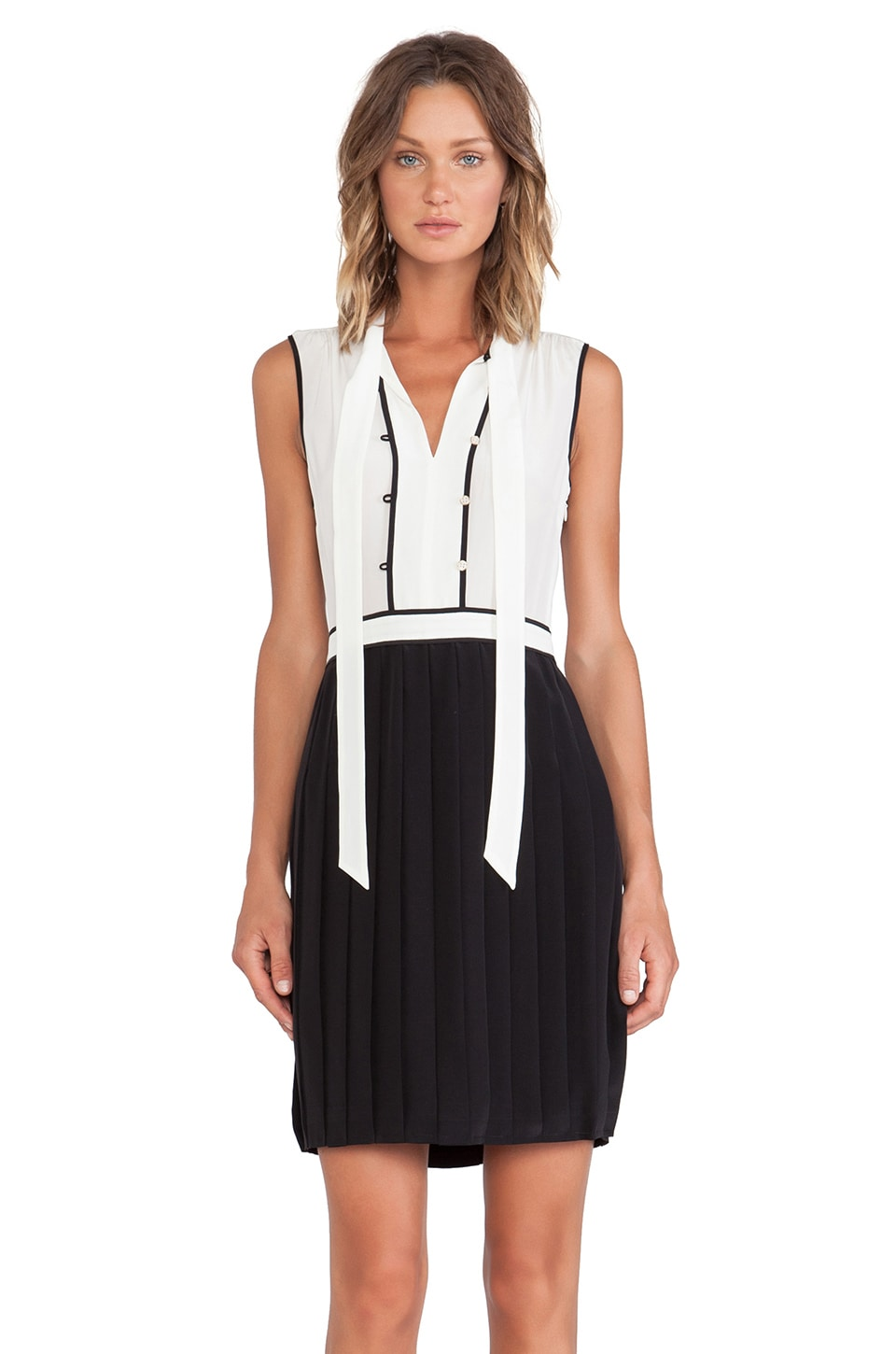 Marc by Marc Jacobs Frances Color Block Silk Dress in Black Multi