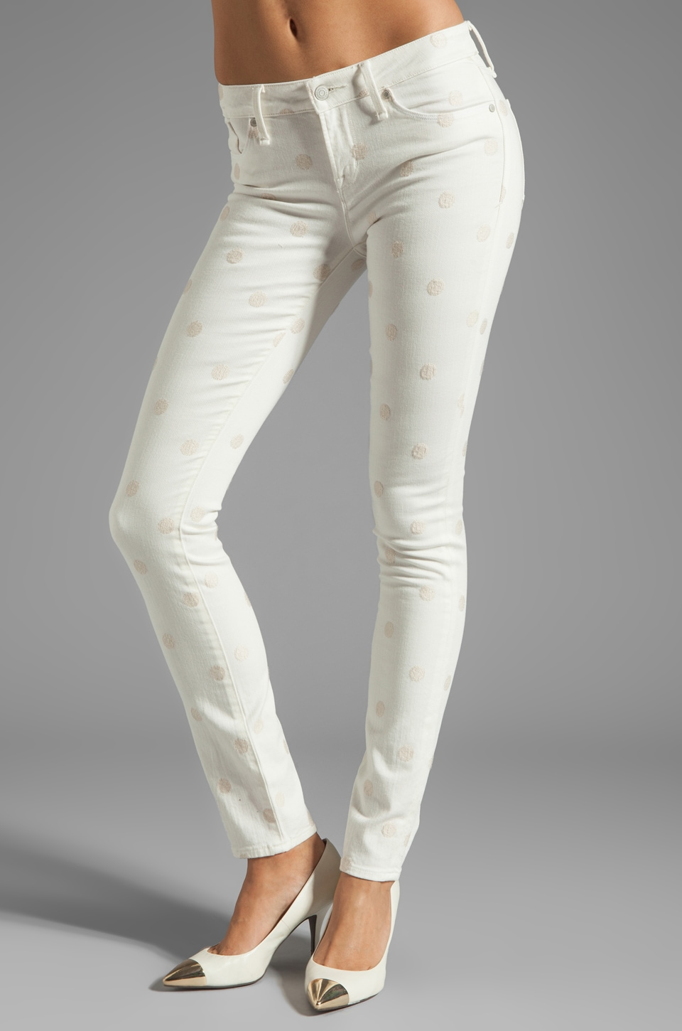 Marc by Marc Jacobs Lou Skinny in Bright White Dot