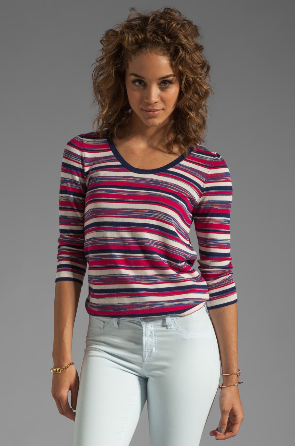 Marc by Marc Jacobs Marion Stripe Sweater in Cerise Multi