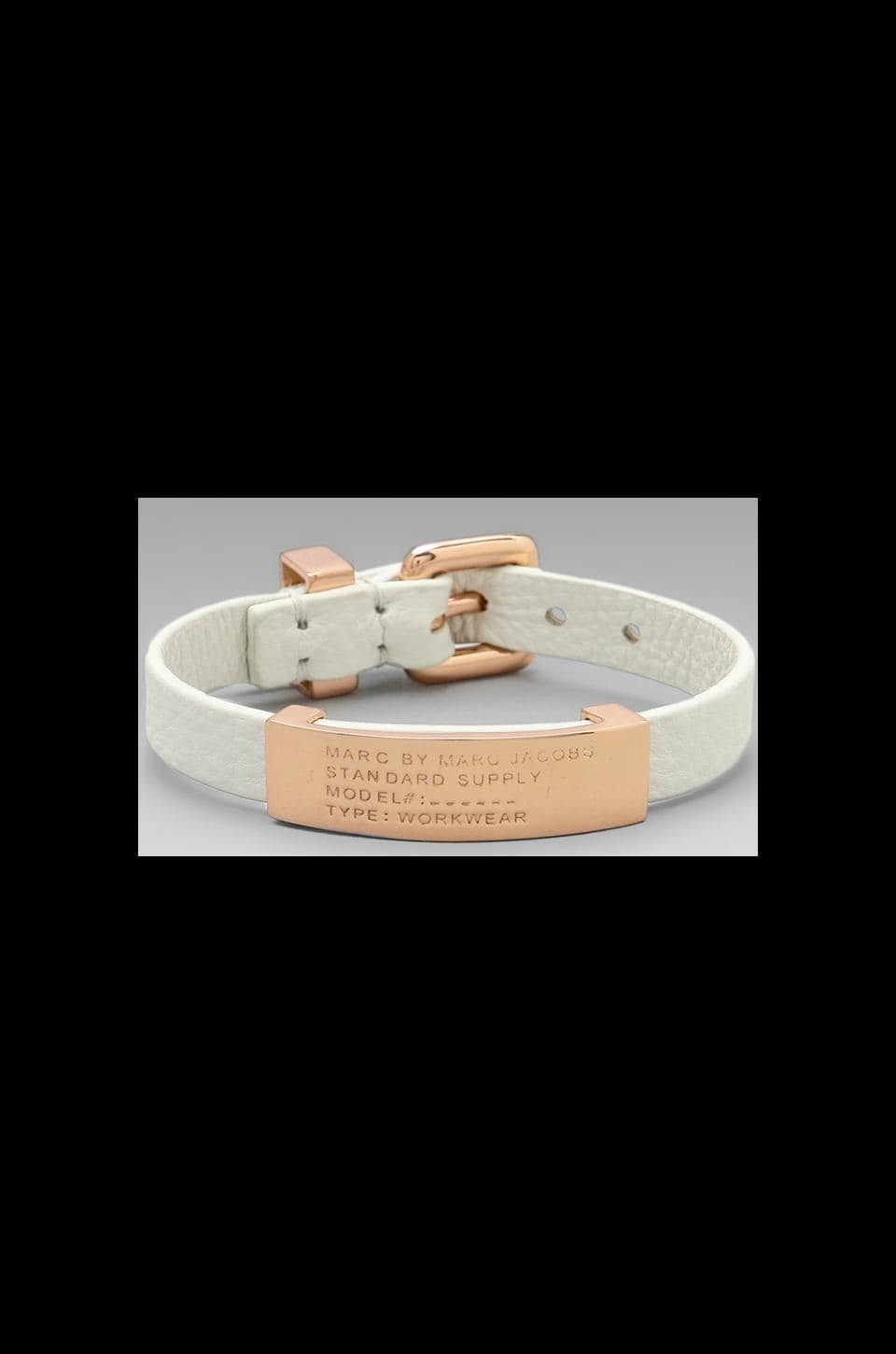 Marc by Marc Jacobs Leather Standard Supply ID Bracelet in White Birch