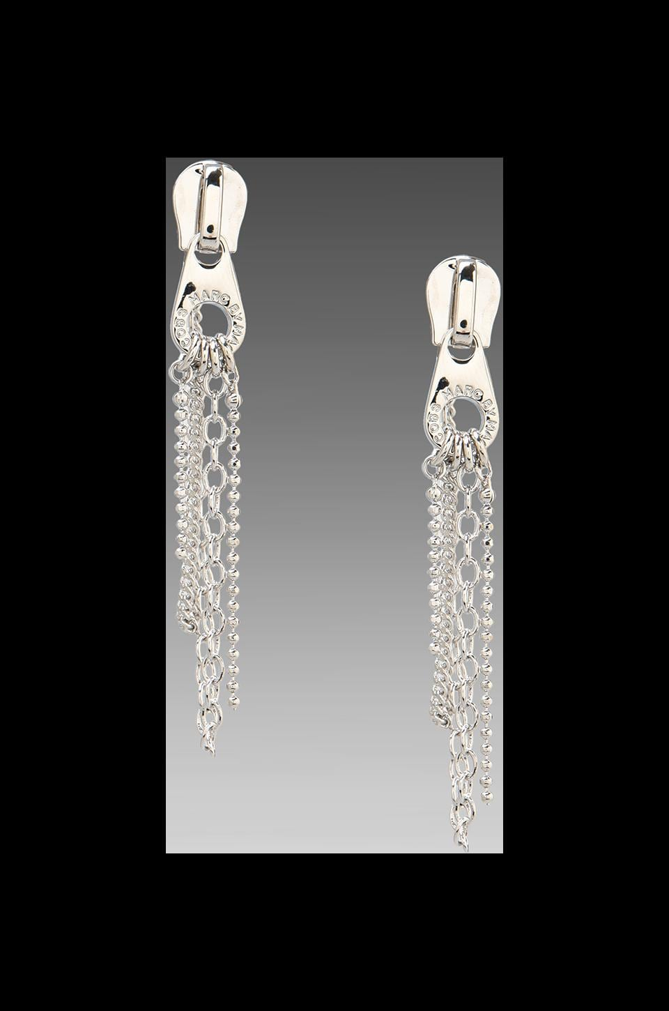 Marc by Marc Jacobs Zip Pull Draped Earrings in Argento