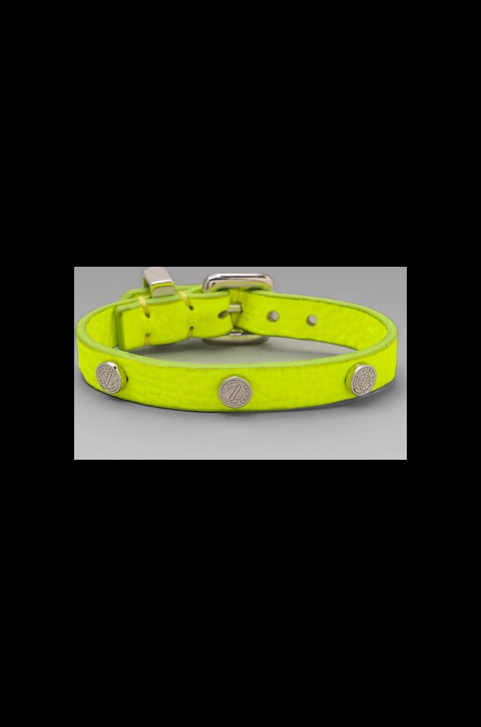 Marc by Marc Jacobs Turnlock Charm Leather Bracelet in Safety Yellow
