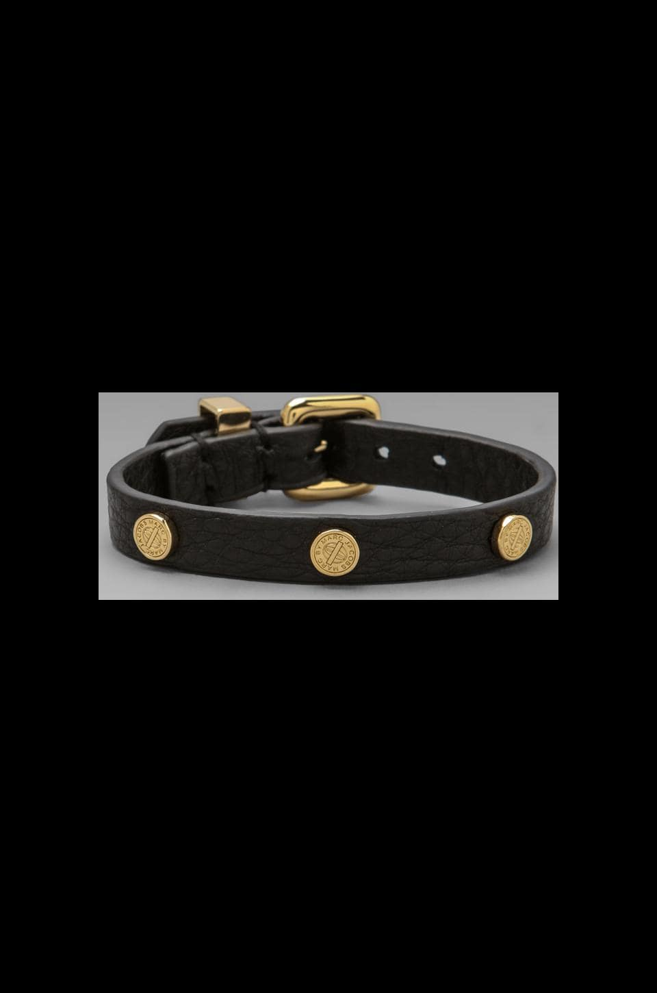 Marc by Marc Jacobs Turnlock Charm Leather Bracelet in Black