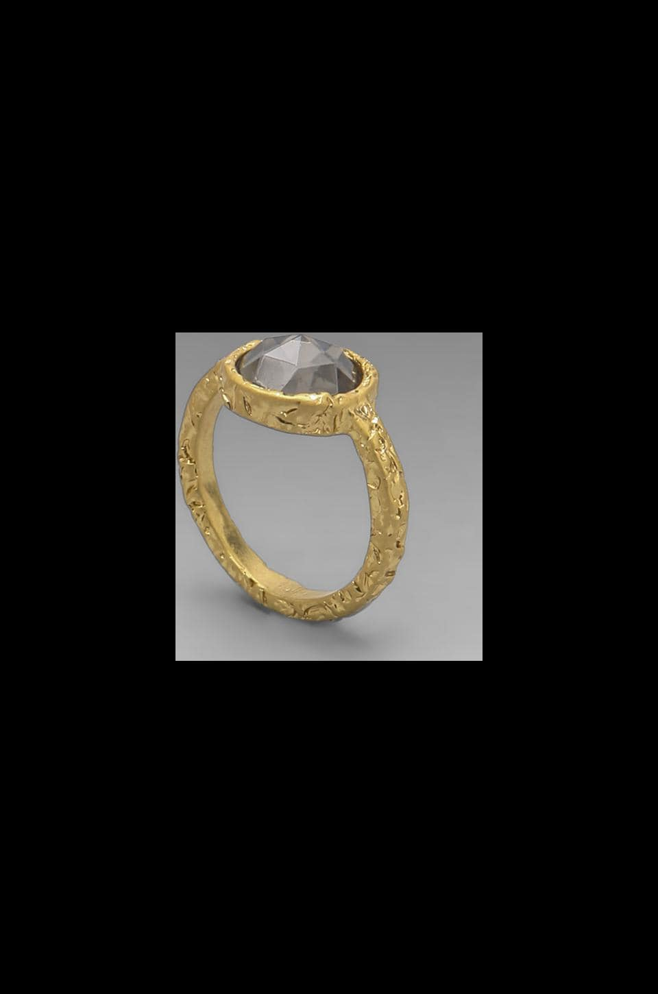 Marc by Marc Jacobs Bow Tiny Crystal Ring in Black Diamond/Antique Oro