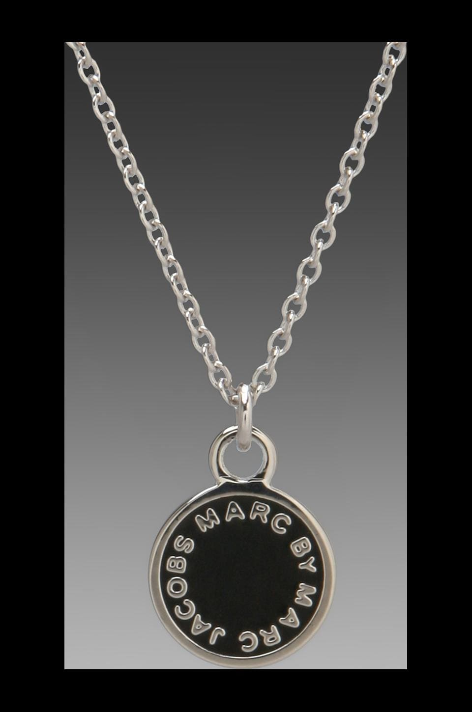 Marc by Marc Jacobs Enamel Disc Pendant in Black/Argento