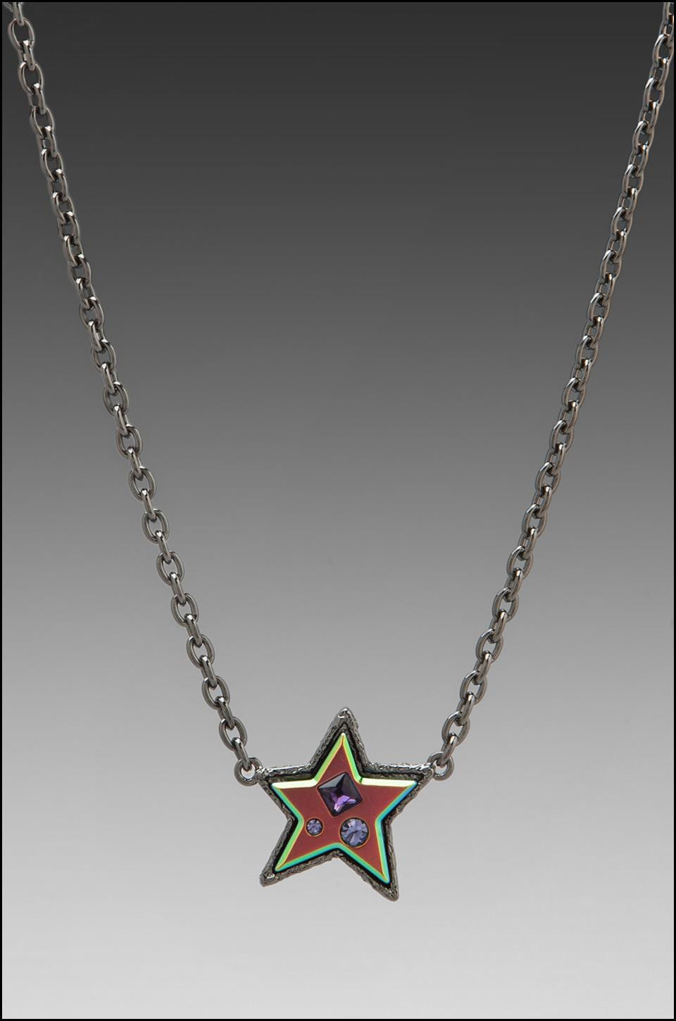 Marc by Marc Jacobs Reluctant Stars Chunky Star Necklace in Hematite