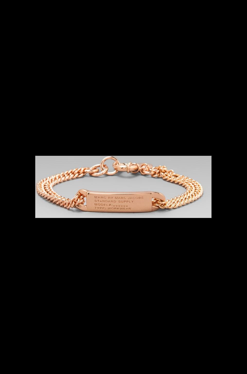 Marc by Marc Jacobs Standard Supply Plaque Chain Logo Bracelet in Rose Gold